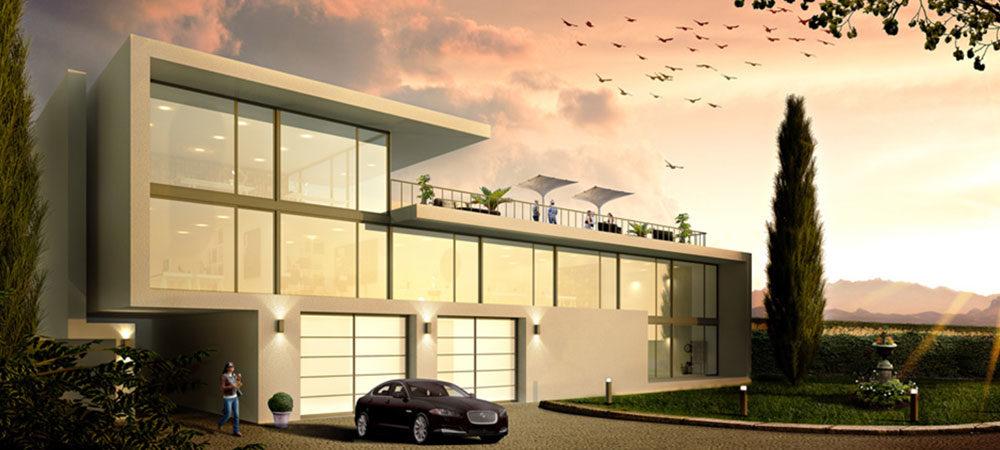 3D Bürogebäude im Sonnenuntergang
